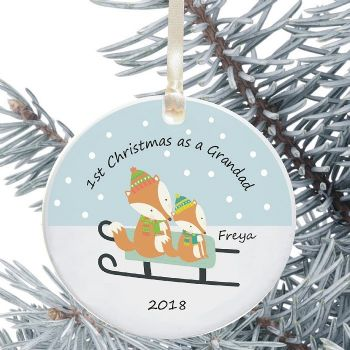 1st Christmas as a Grandad/Grandma Ceramic Keepsake Decoration - Fox Design